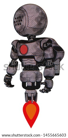 Mech containing elements: dots array face, light chest exoshielding, red chest button, rocket pack, jet propulsion. Material: Sketch pad cloudy smudges. Situation: Standing looking right restful pose.