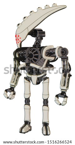 Mech containing elements: flat elongated skull head, heavy upper chest, no chest plating, ultralight foot exosuit. Material: Yellowed old plastic. Situation: Standing looking right restful pose.