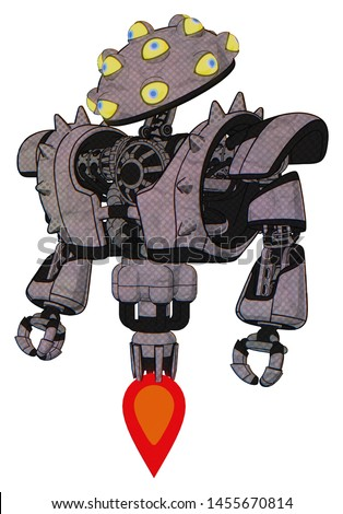 Mech containing elements: many-eyed monster head design, heavy upper chest, heavy mech chest, shoulder spikes, jet propulsion. Material: Dark sketch. Situation: Standing looking right restful pose.