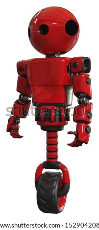 Mech containing elements: oval wide head, light chest exoshielding, prototype exoplate chest, unicycle wheel. Material: Red. Situation: Standing looking right restful pose.