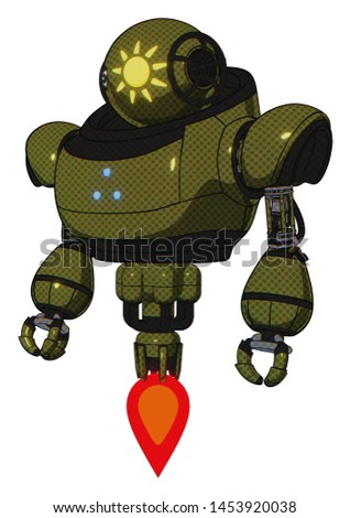 Mech containing elements: oval wide head, sunshine patch eye, heavy upper chest, triangle of blue leds, jet propulsion. Material: Army green halftone. Situation: Standing looking right restful pose.
