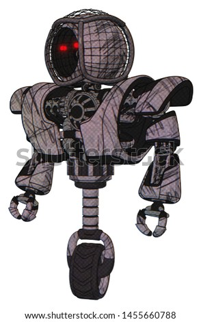 Mech containing elements: round barbed wire round head, heavy upper chest, heavy mech chest, unicycle wheel. Material: Dark sketchy. Situation: Standing looking right restful pose.