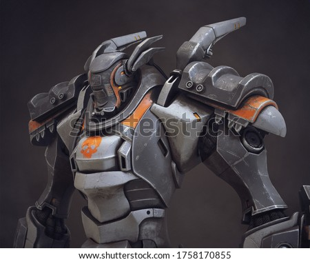 Mech samurai warrior with big pauldrons. Futuristic robot with white gray color scratched metal. Sci-fi Mech Battle with heavy armor. Big robot mech with orange paint. 3D rendering on dark background.