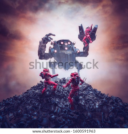 Mech trouble on Titan / 3D illustration of retro pulp science fiction scene showing astronauts attacked by alien robot