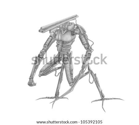 Mech-warrior battle robot with different guns