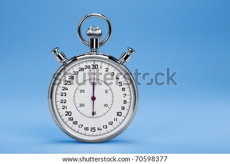 Mechanic chromed stopwatch on blue background. Front view.