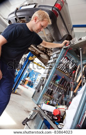Mechanic looking at his tools and equipment in auto repair shop
