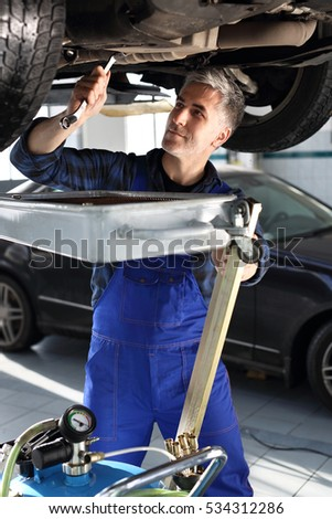 Mechanic mentions oil. Car mechanic lists the engine oil in the car services. #534312286