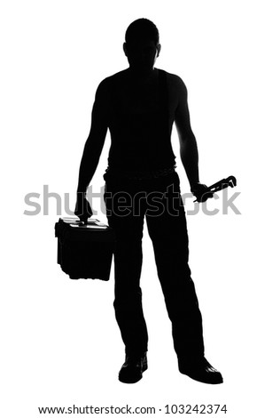 Mechanic silhouette with tools isolated on the white background