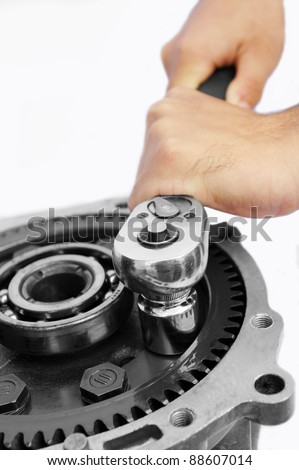 mechanic work on isolated white background