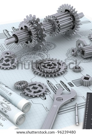 Mechanical and technical engineering concept of designing and building a machine - stock photo