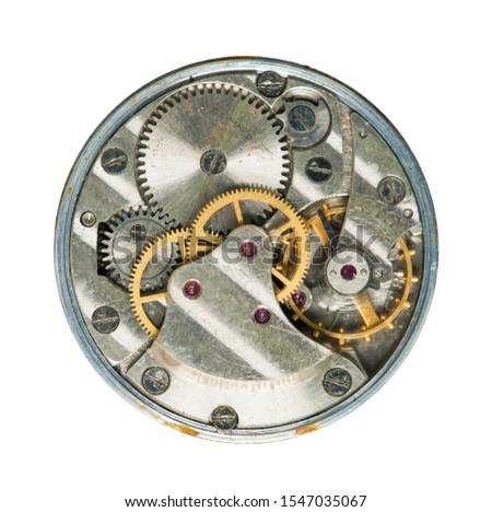 Mechanical clockwork close up mechanism. Inside the clock.