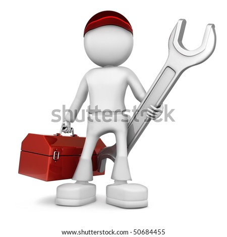 Mechanical engineer. 3d image isolated on white background.