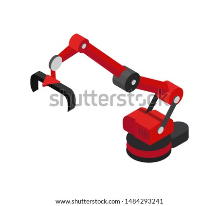 Mechanical equipment for production automation raster illustration of special robot with hydraulic elements and pliers using in things transportation