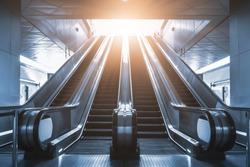Mechanical escalator in the international airport or modern subway train station