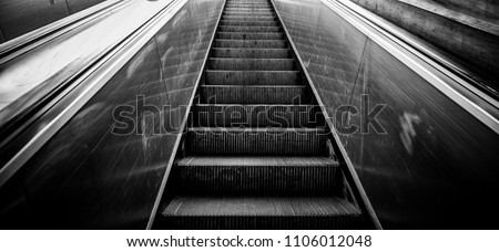 Mechanical escalators for people up and down, access detail
