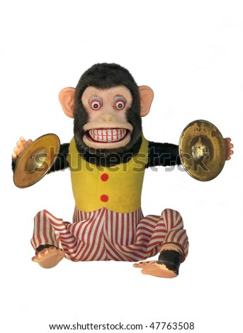 Mechanical monkey toy, full body isolated on white