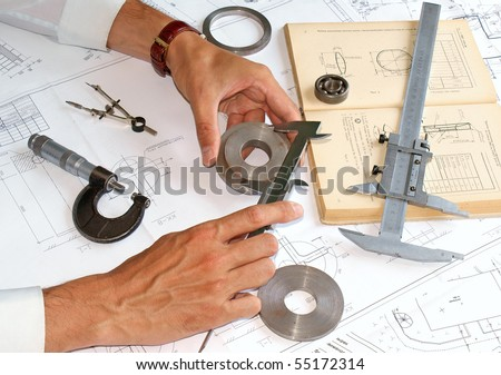 mechanical operation details and control quality discharge production - stock photo