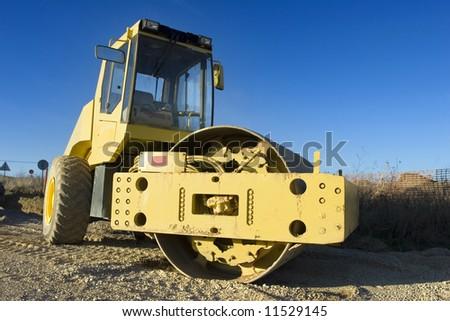 Mechanical roller. Road roller. Public works