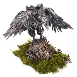 Mechanical sculpture of a crow on the head of a cyborg in the style of a steampunk metal kind of iron bronze copper polymerine clay bird robot biomechanics sculpture on a white background isolated