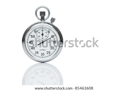 Mechanical stopwatch isolated on white, with copy space