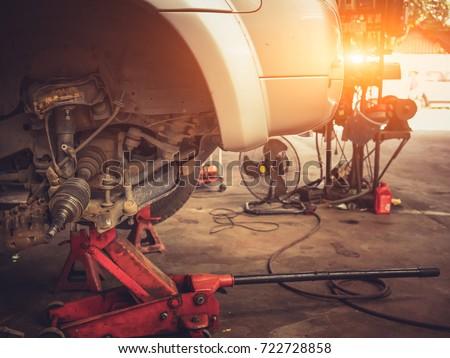 Mechanical tools for auto service and car repair in Car repair shop