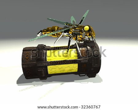 mechanical wasp on container