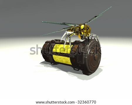 mechanical wasp on top of container