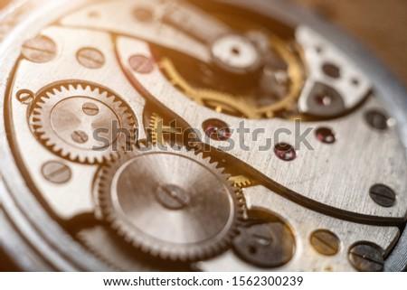 Mechanical watch mechanism, extreme close up.