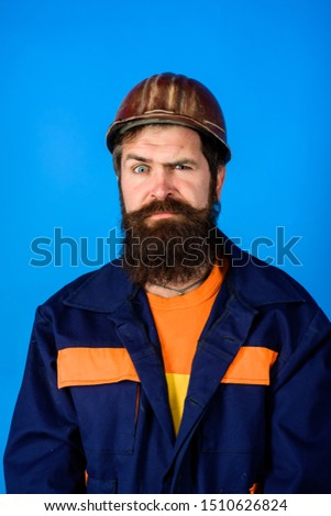 Mechanical worker. Bearded man in suit with construction helmet. Portrait of handsome engineer. Construction worker in hardhat. Business, industry, technology - builder concept. Builder in hard hat. #1510626824