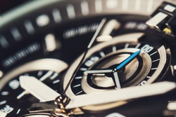 Mechanism, clockwork of a watch with jewels, close-up. Vintage luxury background. Time, work concept. Macro. Second hands