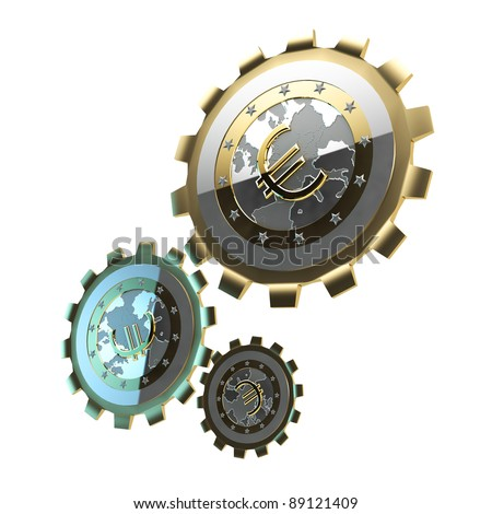 Mechanism made of gears isolated on white
