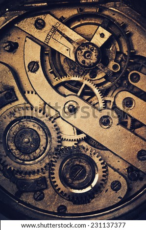 mechanism of pocket watch with...
