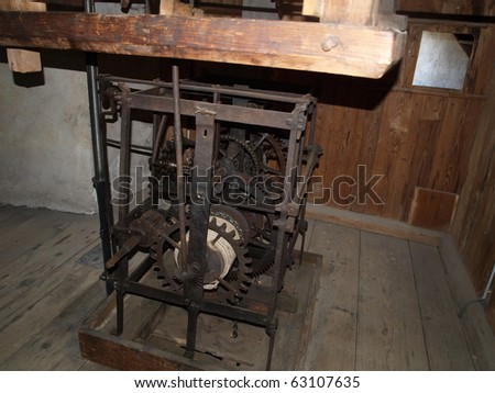 mechanism of the clock on the tower of the castle in the Austrian Alps Hohenwerfen