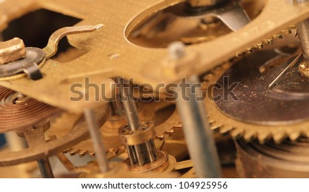 Mechanismthe old alarm clock. Photo closeup, selective focus - stock photo