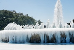 Mecom fountain froze over as a result of abnormal frost. Designed by Eugene Werlin, located in the traffic circle at the intersection of Main and Montrose streets in Houston, Texas,  United State