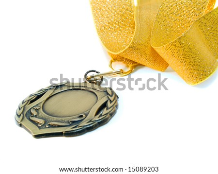 medal and ribbon close-up. isolated over white. shallow dof - stock photo