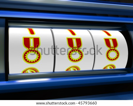 Medal award jackpot slot machine illustration