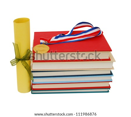 Medal, diploma and books