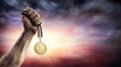 Medal Of First Place In Hand - Victory Concept - Medal 3d Render
