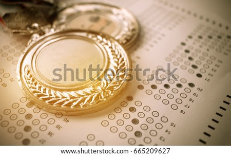 Medals Awards for winner of competition, Honor students studying or testing exams in leading universities, school, Competitions and Education study concepts. vintage tone #665209627