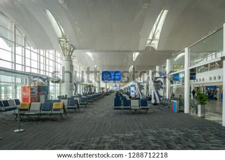 Medan, Indonesia - January 2019: Kualanamu international airport Departure terminal architecture in Medan, North Sumatra, Indonesia.   Kualanamu is the third largest airport in Indonesia. #1288712218