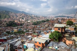 Medellín slums, Colombian slum, Medellin cartel, Beautiful view on the communa 13 Neighborhood, outstanding house, cityscape in colombia