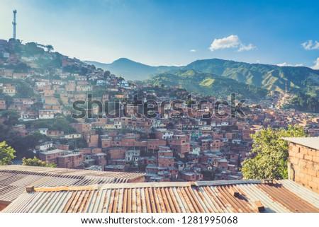Medellin Slums favelas, Colombia Photo stock ©