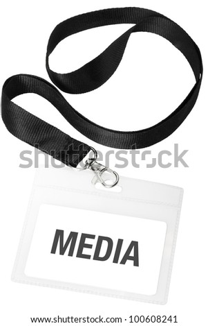 Media badge or ID pass isolated on white background, clipping path included