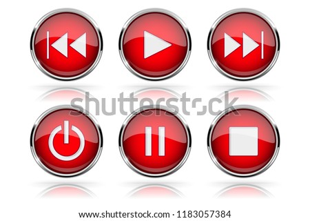 Media buttons. Red round glass buttons with chrome frame. 3d illustration isolated on white background. Raster version