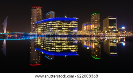 Media City property development on the banks of the Manchester Ship Canal in Salford Quays and Trafford - Long Exposure night shot #622008368
