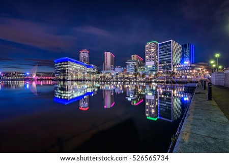 Media City UK is on the banks of the Manchester Ship Canal in Salford and Trafford, Greater Manchester, England.