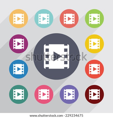 media, flat icons set. Round colourful buttons