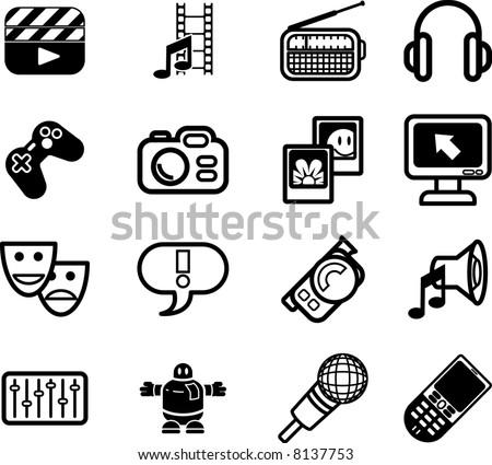 Media icon series set. A series set of icons relating to various types of media. - stock photo